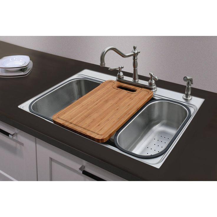 shop american standard 20gauge singlebasin dropin or undermount stainless steel u0026middot kitchen sink - Kitchen Sink Displays
