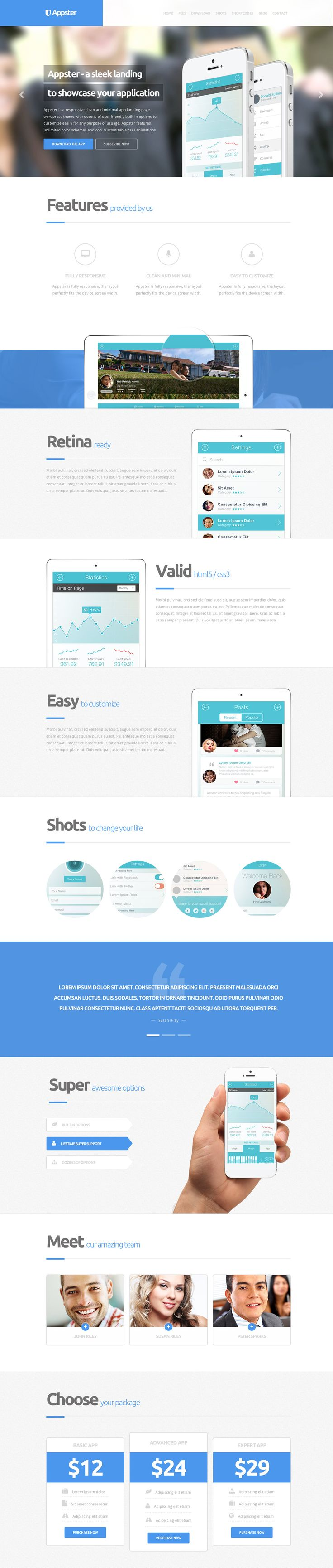 'Appster' is an elegant one page Wordpress theme perfect for promoting your application. It features a modern, crisp feel which will fit very well with apps that follow iOS7 conventions. Unlimited color options and a whole heap of admin area options makes this theme easy to customize if you don't feel like altering any code. Other notable features include 12 different home layouts, a fully responsive design, 3-tier pricing table and the PSD template is included.