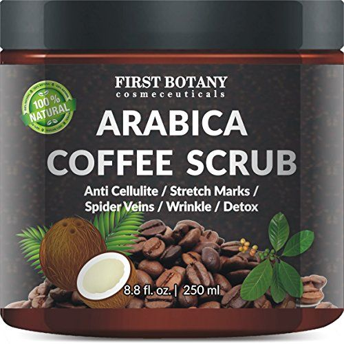 100% Natural Arabica Coffee Scrub 8.8 fl. oz. with Organic Coffee, Coconut and Shea Butter - Best Acne, Anti Cellulite and Stretch Mark treatment, Spider Vein Therapy for Varicose Veins