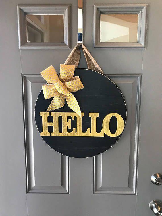 Summer Door Hanger Black Wreath Yellow Wreath Bumble Bee Decor Hello Door Wreath Front Door Decor W Wooden Door Signs Summer Door Hanger Door Decorations