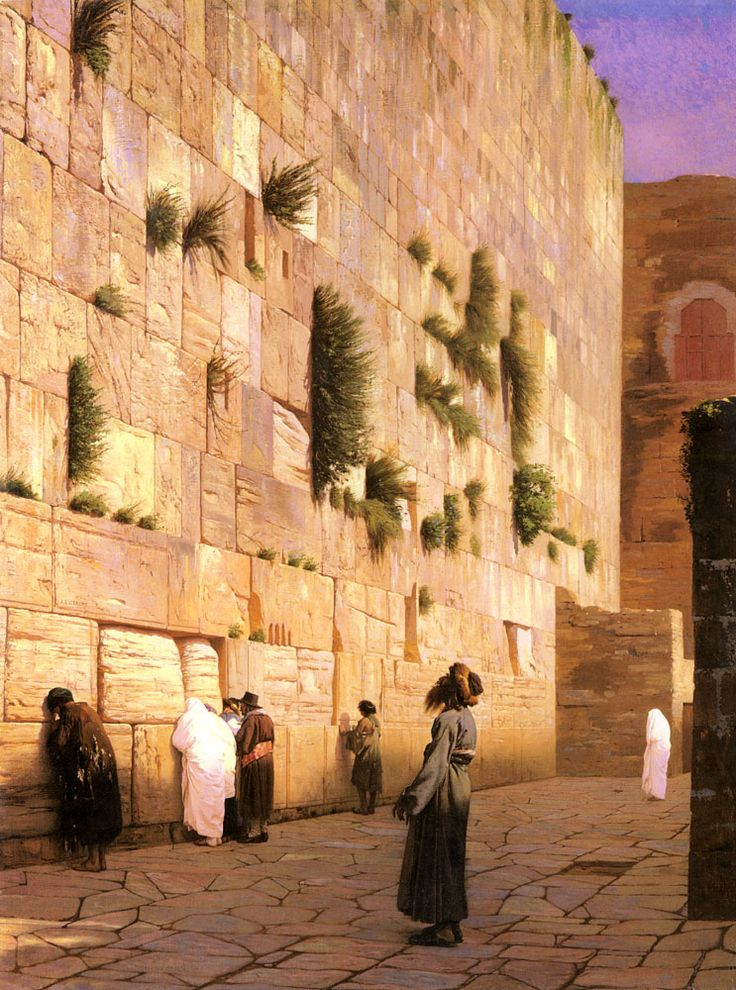 "Jean-Leon Gerome (1824-1904)  Solomon's Wall Jerusalem  Oil on canvas  73.7 x 92.4 cm  (29.02"" x 3' .38"")  Private collection"