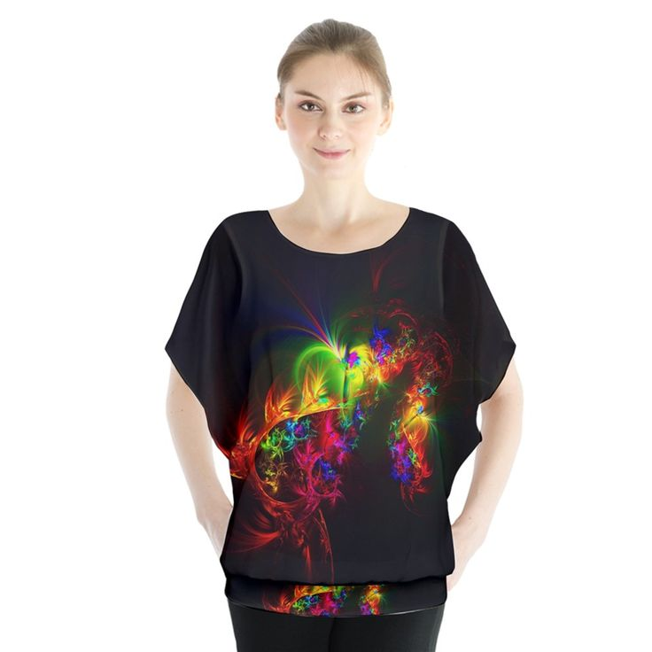 Bright+Multi+Coloured+Fractal+Pattern+Blouse+Batwing+Chiffon+Blouse Artist Tracey Lee Art Designs