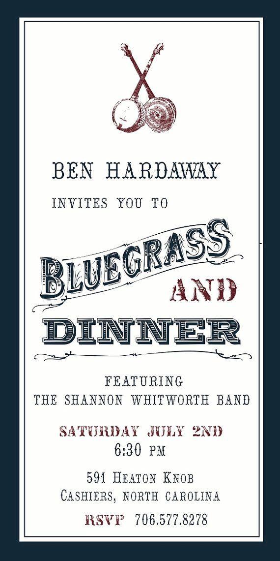 Bluegrass Party Invitation | add.it.on paper | Pinterest ...
