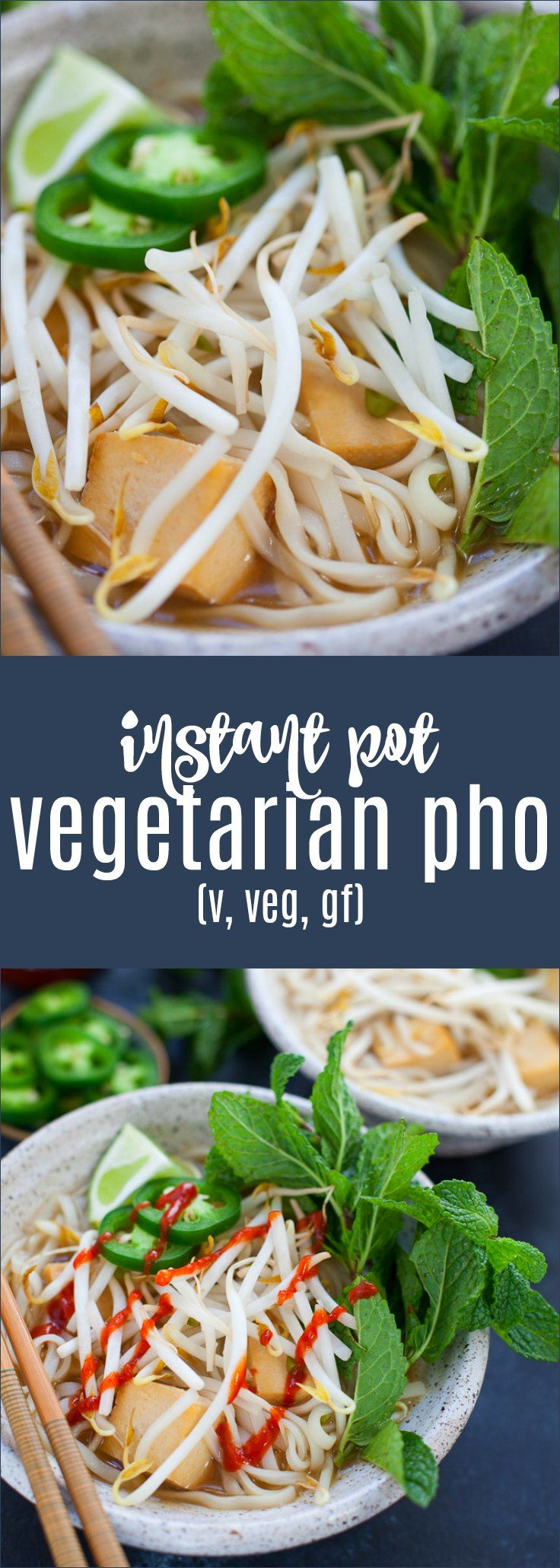 Traditional Vietnamese pho takes an entire day to make; this version only takes under an hour! Instant Pot Vegetarian Pho is perfect for a quick refreshing and comforting weeknight meal. #instantpot #pho #vegetarian #glutenfree