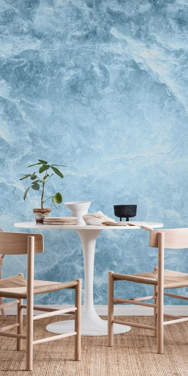 Enigmatic Light Blue Marble 1 Wall Mural Blue Marble Wallpaper