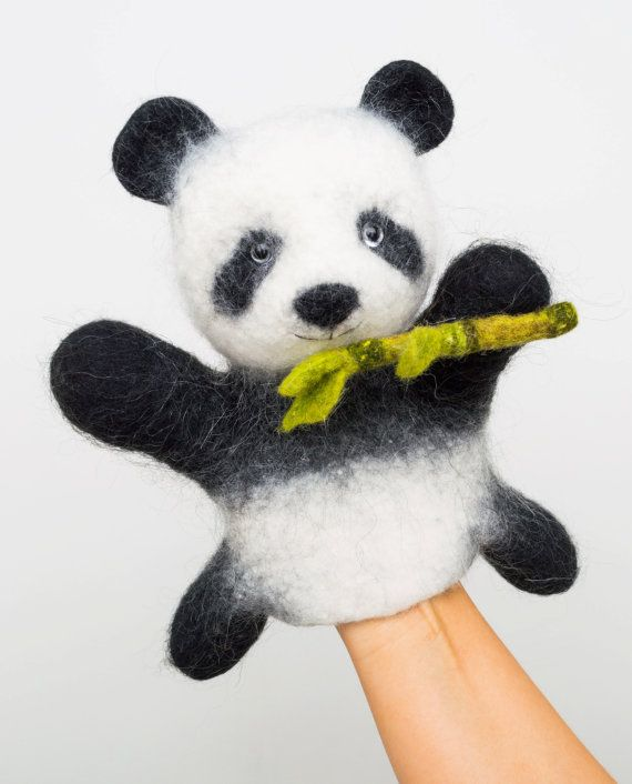 the giant panda with bamboo wet felted MADE TO ORDER by bibabo