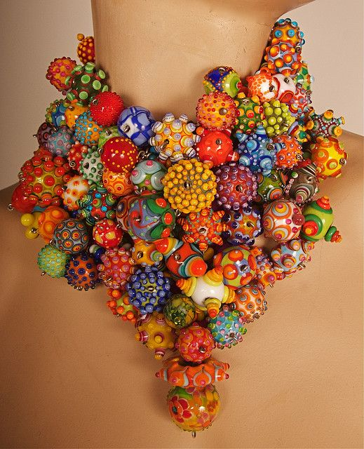 Necklace   Jenine Bressner.  All glass beads and sterling silver are flameworked and forged by Jenine.