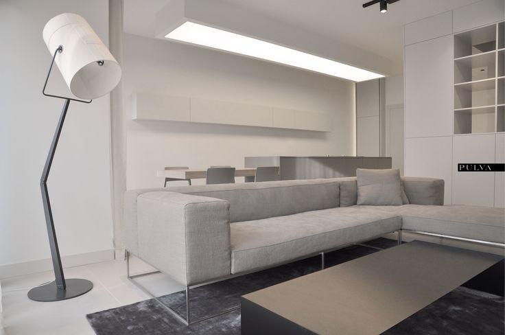 minimalistic interior design, living room, Living Divani, Porro, Foscarini