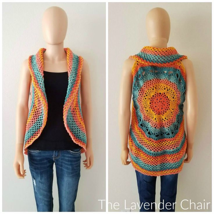 Sunset Mandala Circular Vest Crochet Pattern - The Lavender Chair
