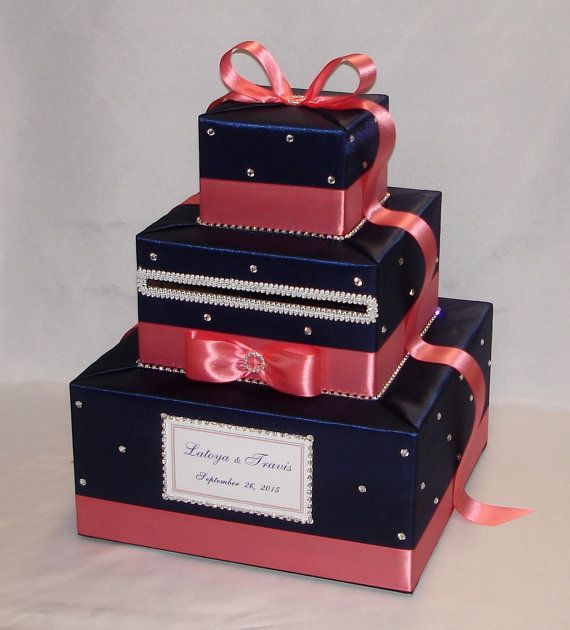 Navy Blue and Coral Wedding Card Box-any от ExoticWeddingBoxes