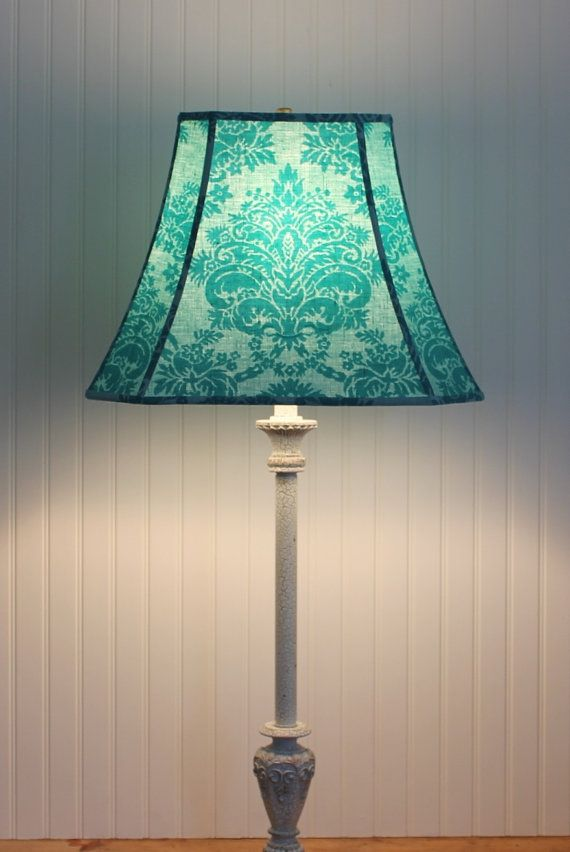 Damask Lamp Shade - Lampshade - Vintage French Scalamandre - Turquoise Lamp Shade - Teal - Cottage - French Fabric - Lamp Shade