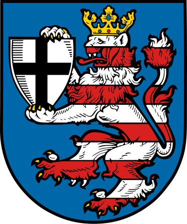 Arms of Marburg-Biedenkopf, Germany Blazon: Azure a lion rampant barry of ten argent and gules, armed and crowned or, holding an escutcheon of the second charged with a cross sable