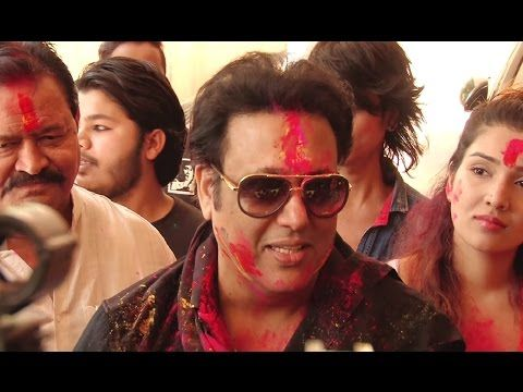 Govinda with family celebrates HOLI 2017 with dry colors.