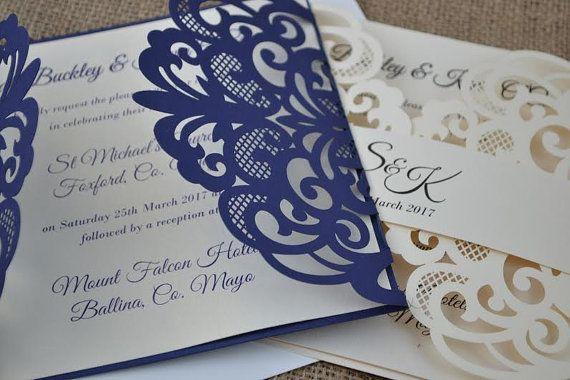 Laser Cut Wedding Invitation Navy Laser Cut by FoxfordAtelier
