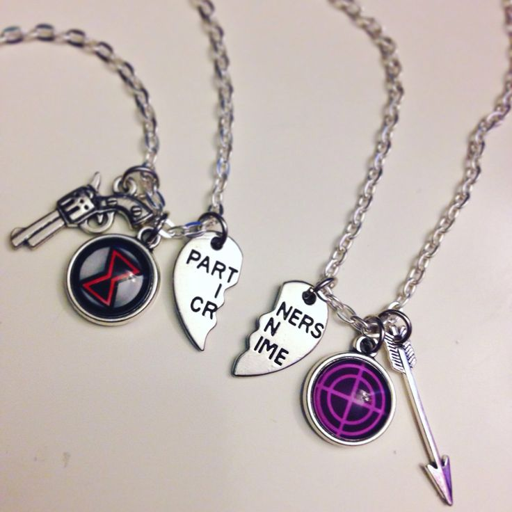 """Coming soon to the shop--- Clint/Natasha """"partners in crime"""" best friends necklace set! :)"""