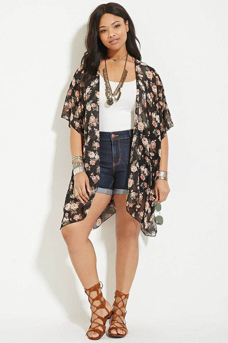 Black Rose Print Kimono | Shop Forever 21 for the latest trends and the best deals | Forever 21