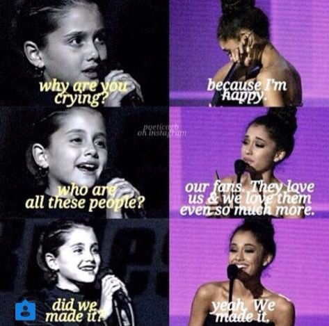 ariana and her younger self conversing about how much they achieved.
