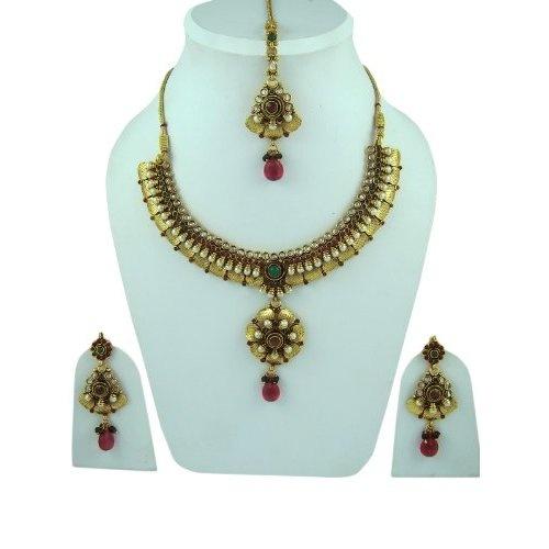 Amazon.com: Designer Wedding Jewelry Sets Faux Ruby Red Green Polki Gold Finish Kundan Necklace Sets: Indian Designer: Jewelry  $69.99