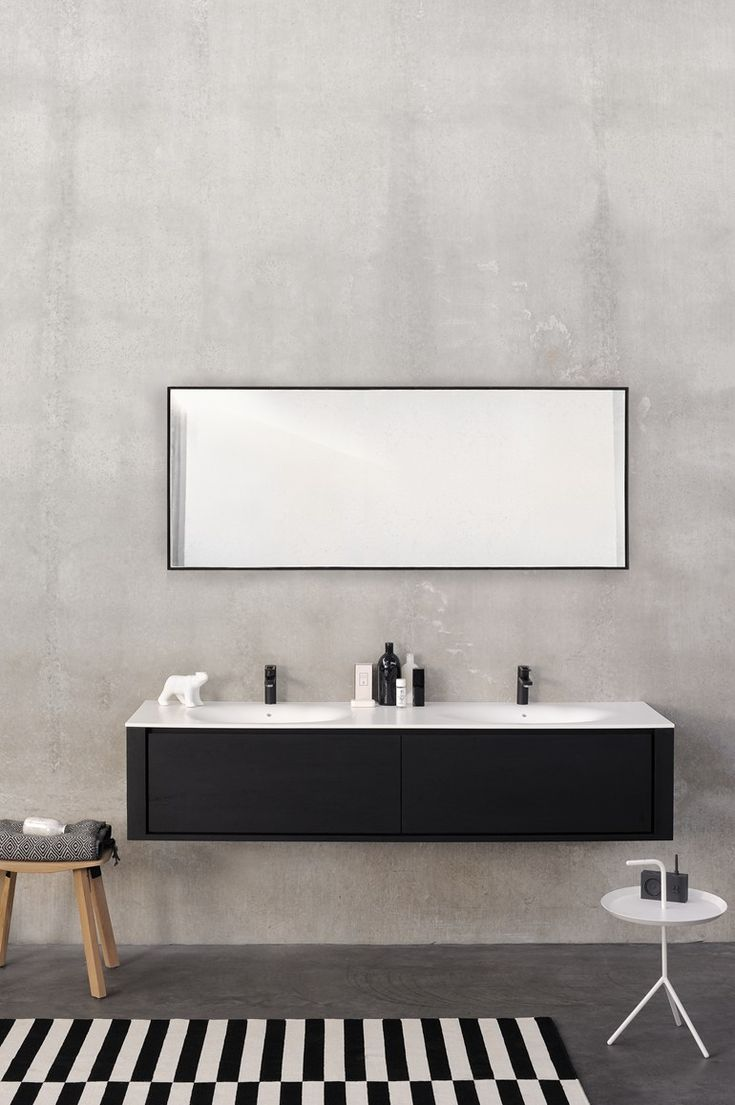 Bathroom mirror black frame - Rectangular Wall Mounted Bathroom Mirror Qualitime Black Bathroom Mirror