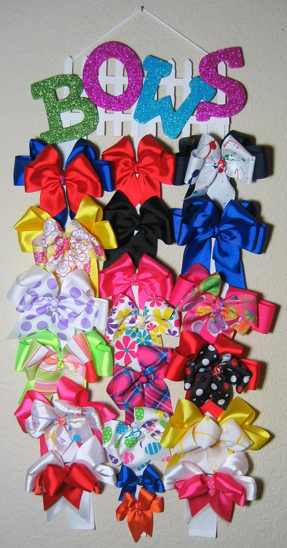 Hair Bow Hanger Display With Glitter Letters on by BonnieJBoutique