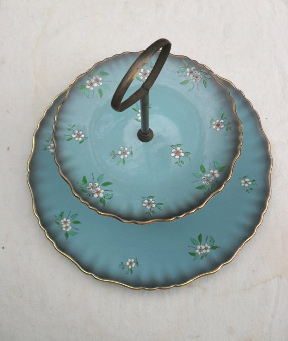 Vintage James Kent Old Foley 2 tier serving plate cake plate : old cake plates - pezcame.com