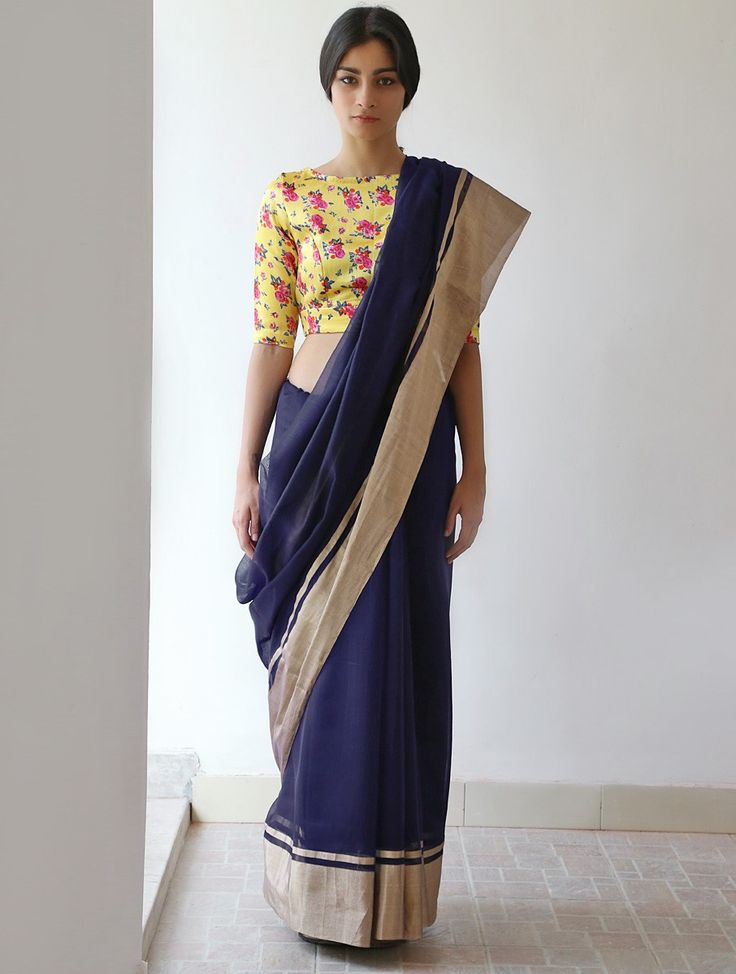 Buy Midnight Blue Golden Rangeen Chanderi & Zari Saree by Raw Mango Online at Jaypore.com