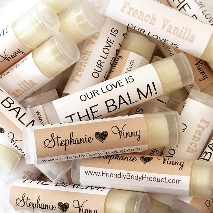 Personalized lip balm favors set of 12 natural beeswax lip balm