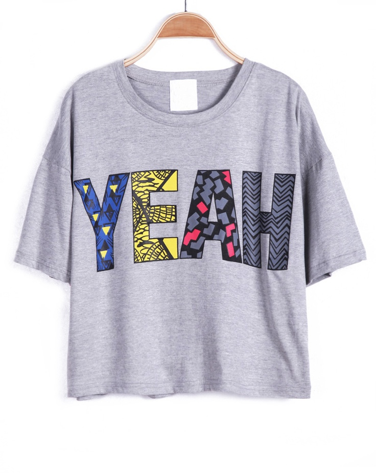 Grey Short Sleeve YEAH Print Crop T-Shirt - Sheinside.com