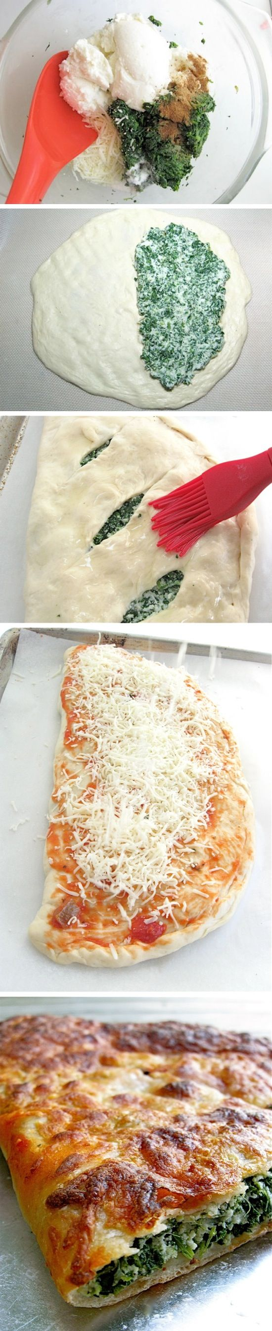 Spinach Ricotta Calzones. Added kale, garlic, feta, and Italian cheeses. Cook for 15-18 minutes. Yum!!