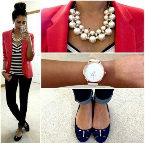 red blazer outfit, Stylish outfits combination for a preppy look http://www.justtrendygirls.com/stylish-outfits-combination-for-a-preppy-look/
