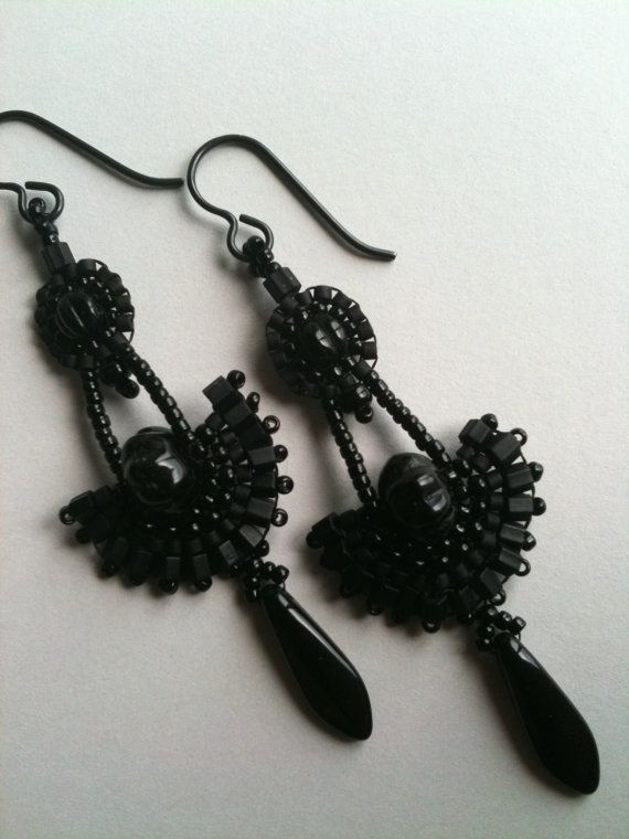 Black fan & circle earrings by Jeka Lambert.  Seed bead woven.  Glass beads, seed beads.