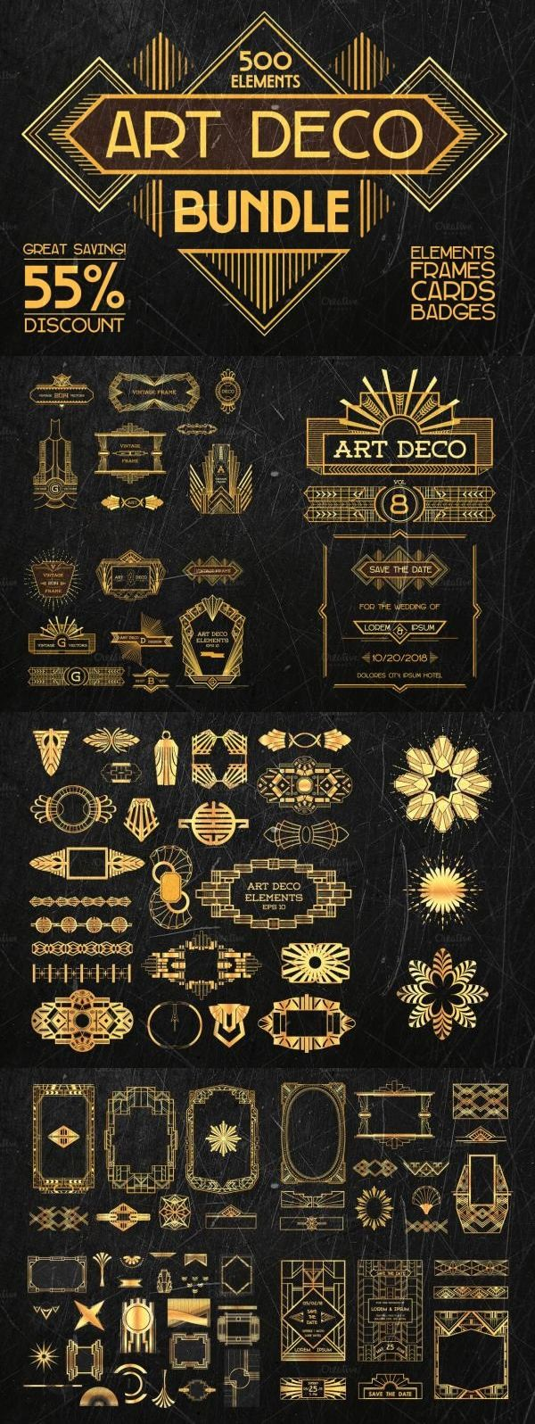 This bundle contains 500 elements: design elements, frames, greeting cards, badges, labels. Check it out on Creative Market!