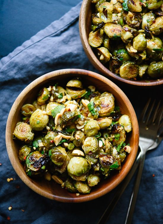 Roasted Brussels sprouts tossed with spicy Kung Pao sauce! This is a delicious vegetarian appetizer or side dish inspired by a popular Chinese dish.