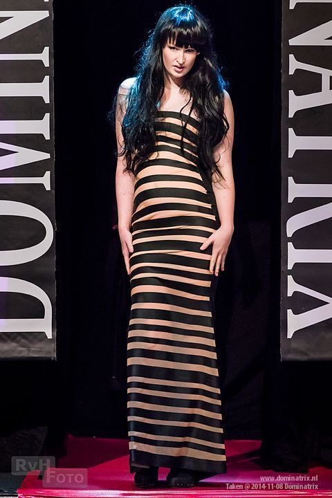 Stripe dress at the Dominatrix show.