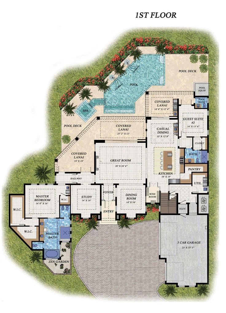 First floor plan of florida house plan 71521