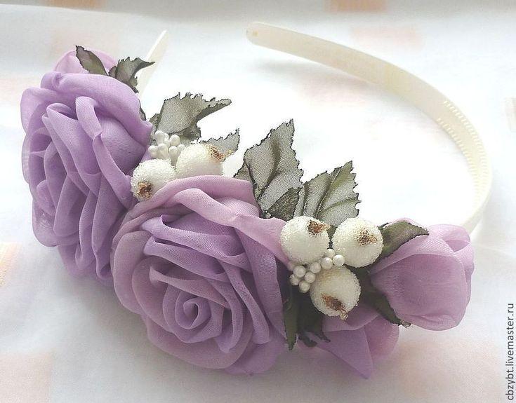 Купить Ободок с розами  сиреневого цвета - сиреневый, нежно сиреневый, ободок для волос, ободок с цветами