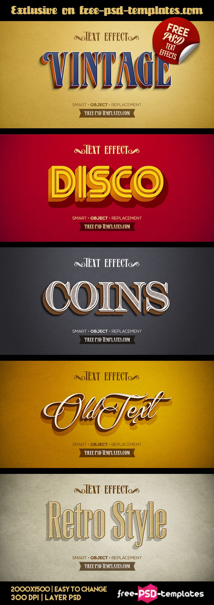 As you know, Text Effects are always important for creating beautiful design or any project. It can be an interesting addition or even the main ideas of any project. Download these 5 retro text effects for your needs and enjoy the results!