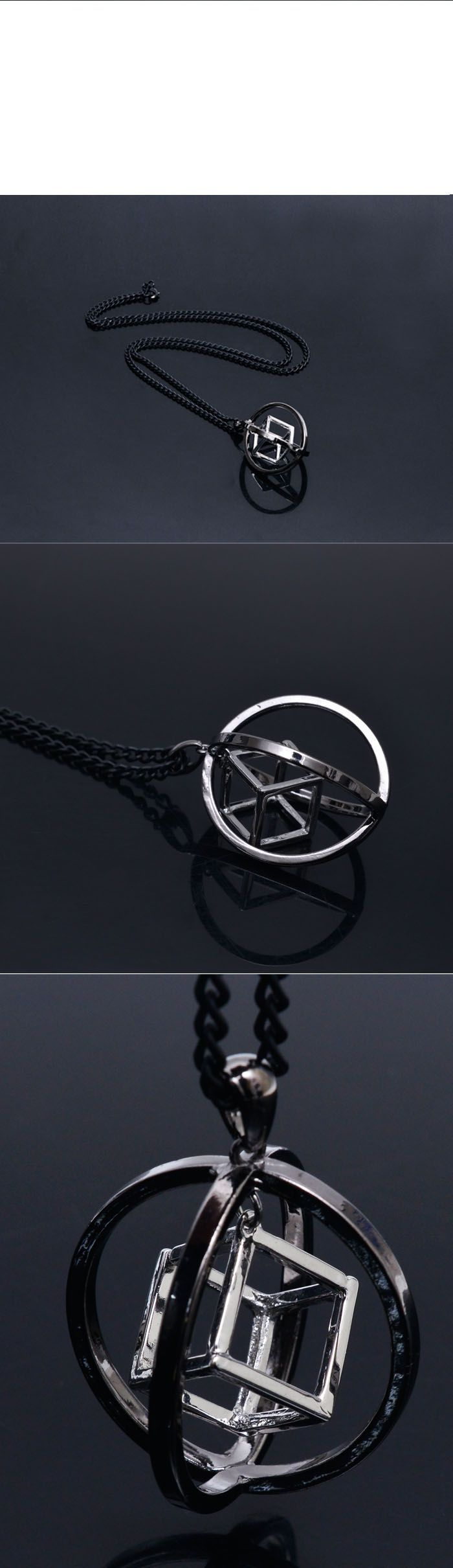 Accessories :: Necklaces :: Big Cyber Circle Square-Necklace 241 - Mens Fashion Clothing For An Attractive Guy Look