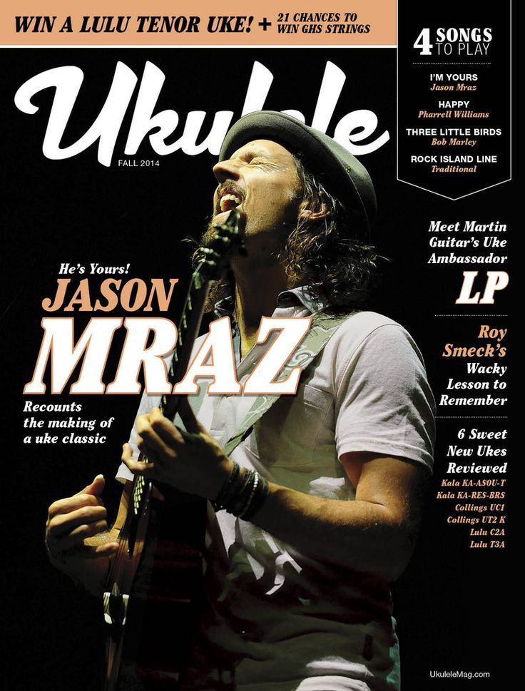 """The Fall 2014 issue features Jason Mraz, Martin Guitar's Uke Ambassador LP,  and The Mersey Belles. Also in this issue:  Review on 6 Sweet New Ukes, The launch of the """"Play This Issue"""" song contest, Four-String Therapy. Preview or buy the issue right now in the Ukulele Store (Subscriptions also available!)."""