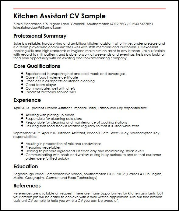 Cv Builder Kitchen Assistant Cv Sample Myperfectcv 242478ed Resumesample Resumefor Modelos De Curriculum Vitae Curriculum Vitae