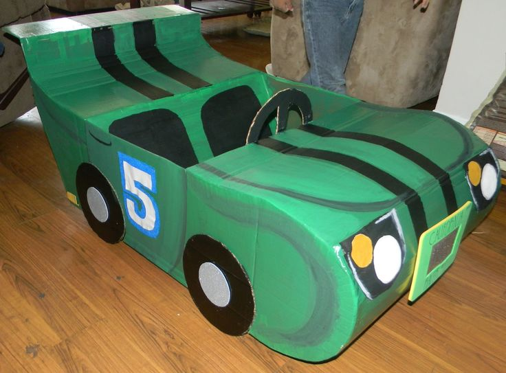 A step-by-step tutorial on how to make a Race Car out of Cardboard Box