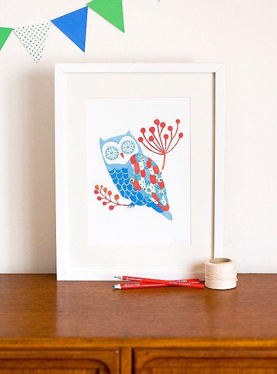Blue Owl Print. $29.00, via Etsy.