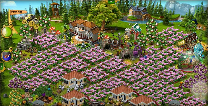 Screenshot of a crops in bloom on someone's farm in the online browser game Farmerama