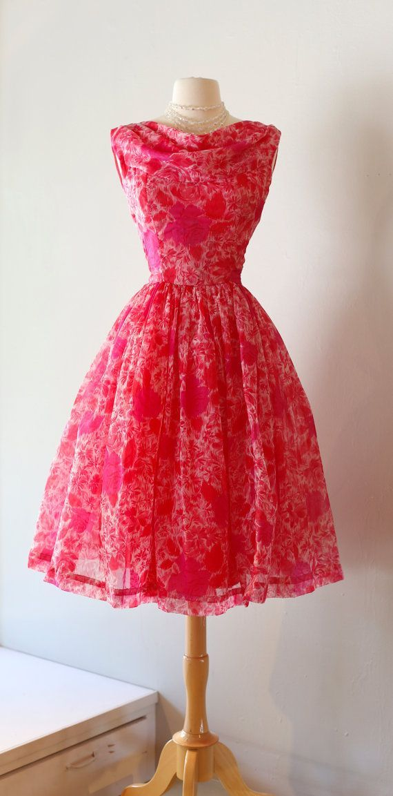 Vintage 1950s Pink Garden Party Dress Vintage by xtabayvintage