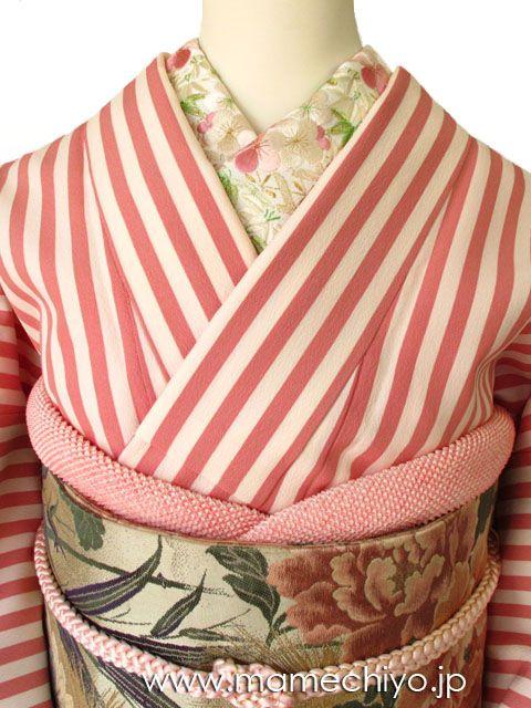 正絹半襟 梅丸竹丸 ピンク