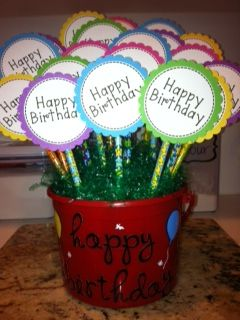 cute Birthday Bouquet ... each flower has a pencil and a 1 night no homework coupon on back!