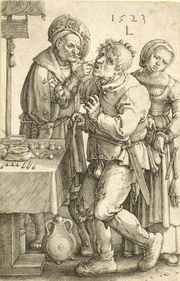 The Dentist (1523), Lucas van Leyden. © Staatliche Graphische Sammlung München