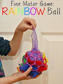 Still Playing School: Fine Motor Rainbow Ball Game