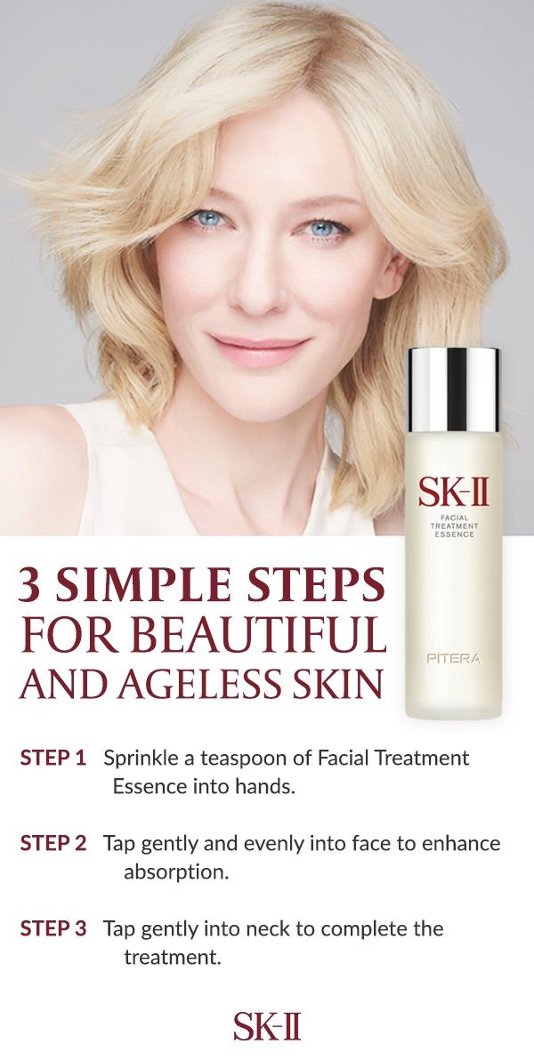 Get beautiful, ageless skin now and beyond in 3 simple steps with SK-II's Facial Treatment Essence. Its irreplaceable formula gently exfoliates the face and helps moderate the skin surface renewal cycle. Simply sprinkle a teaspoon of Facial Treatment Essence into hands, tap gently and evenly into face to enhance, and tap gently into neck to complete the treatment.