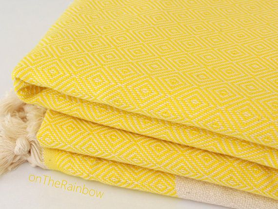 SALE Yellow Bed Cover Bedspread Woven Organic Cotton Blanket Lemon Yellow Oversized Throw Blanket Double Twin Queen Size Bedding Christmas Gift
